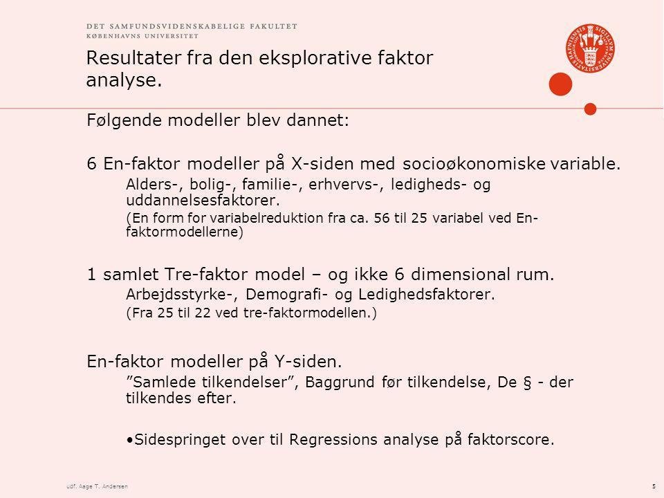 5udf. Aage T. Andersen Resultater fra den eksplorative faktor analyse.