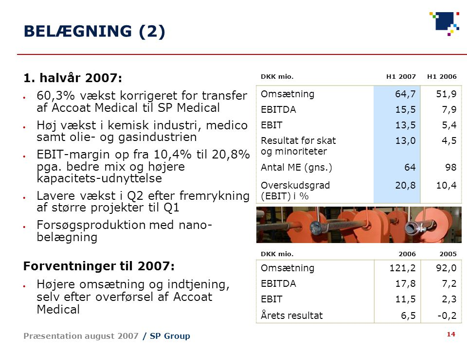 14 Præsentation august 2007 / SP Group BELÆGNING (2) 1.