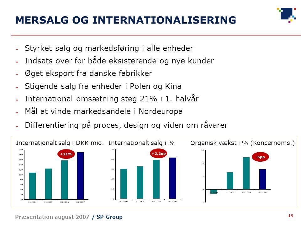 19 Præsentation august 2007 / SP Group MERSALG OG INTERNATIONALISERING Styrket salg og markedsføring i alle enheder Indsats over for både eksisterende og nye kunder Øget eksport fra danske fabrikker Stigende salg fra enheder i Polen og Kina International omsætning steg 21% i 1.