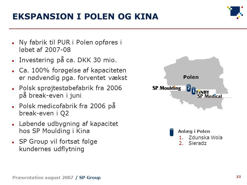 23 Præsentation august 2007 / SP Group EKSPANSION I POLEN OG KINA Ny fabrik til PUR i Polen opføres i løbet af 2007-08 Investering på ca.