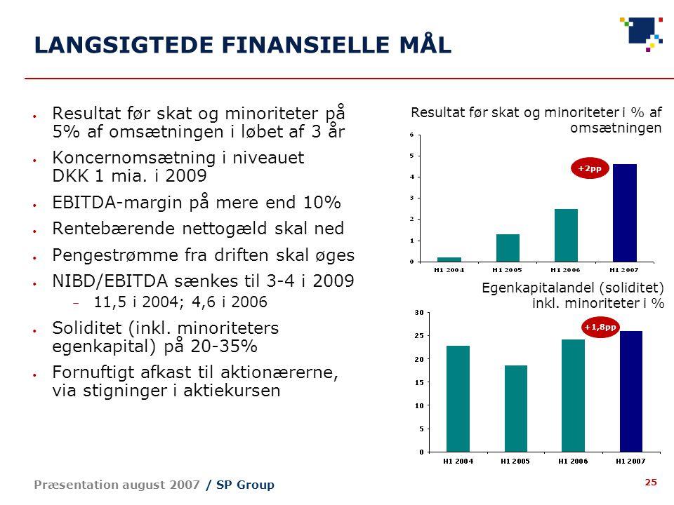 25 Præsentation august 2007 / SP Group LANGSIGTEDE FINANSIELLE MÅL Resultat før skat og minoriteter på 5% af omsætningen i løbet af 3 år Koncernomsætning i niveauet DKK 1 mia.