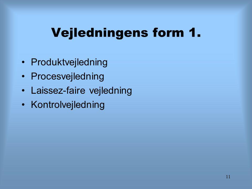 11 Vejledningens form 1. Produktvejledning Procesvejledning Laissez-faire vejledning Kontrolvejledning