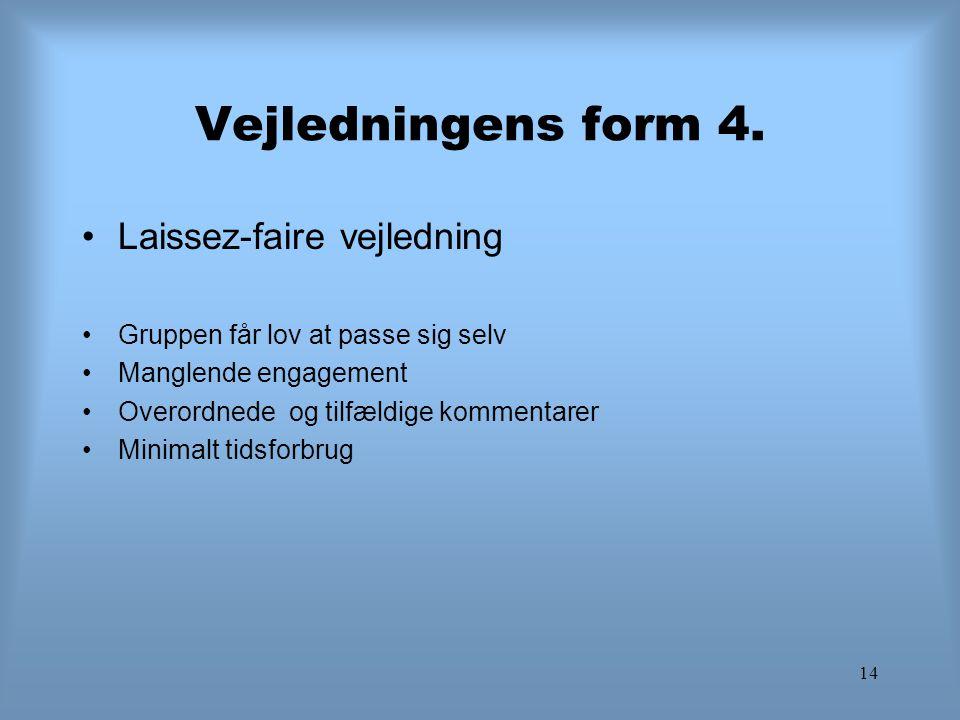 14 Vejledningens form 4. Laissez-faire vejledning Gruppen får lov at passe sig selv Manglende engagement Overordnede og tilfældige kommentarer Minimal
