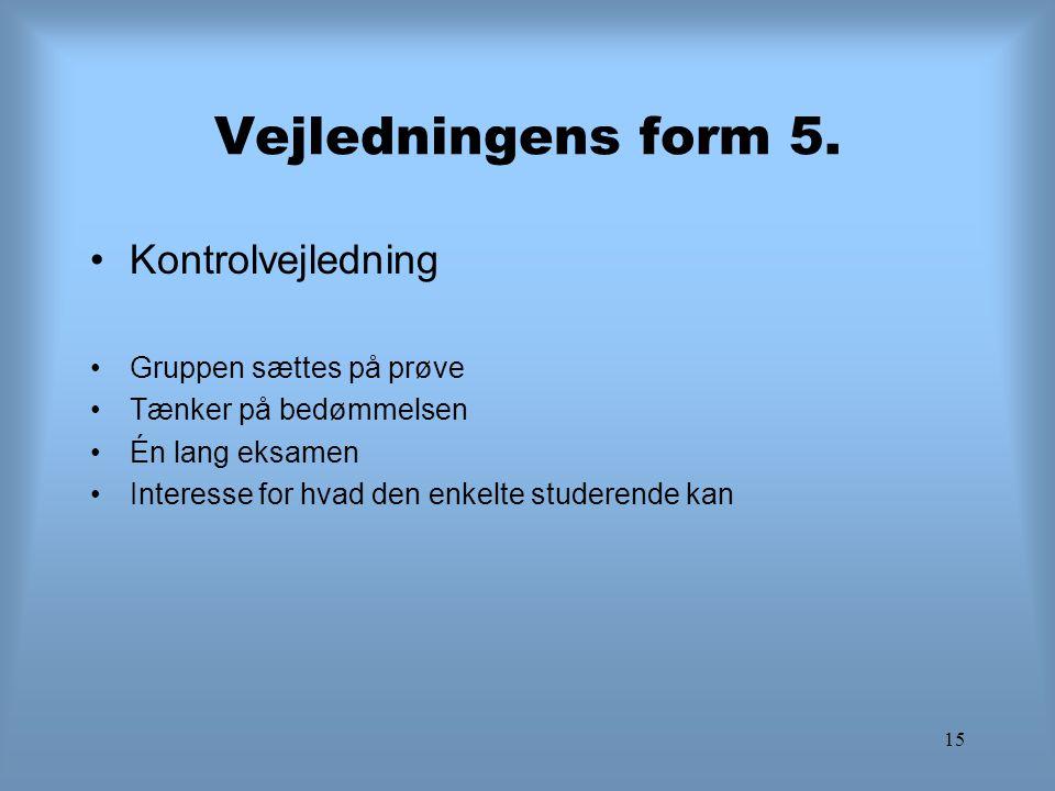 15 Vejledningens form 5. Kontrolvejledning Gruppen sættes på prøve Tænker på bedømmelsen Én lang eksamen Interesse for hvad den enkelte studerende kan