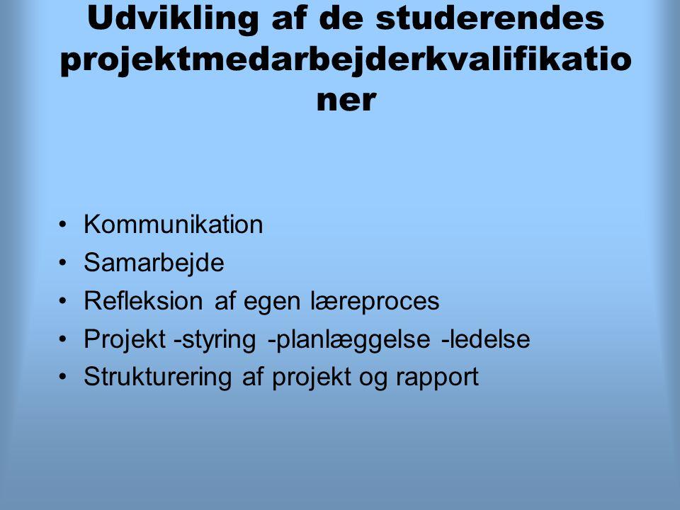 Udvikling af de studerendes projektmedarbejderkvalifikatio ner Kommunikation Samarbejde Refleksion af egen læreproces Projekt -styring -planlæggelse -