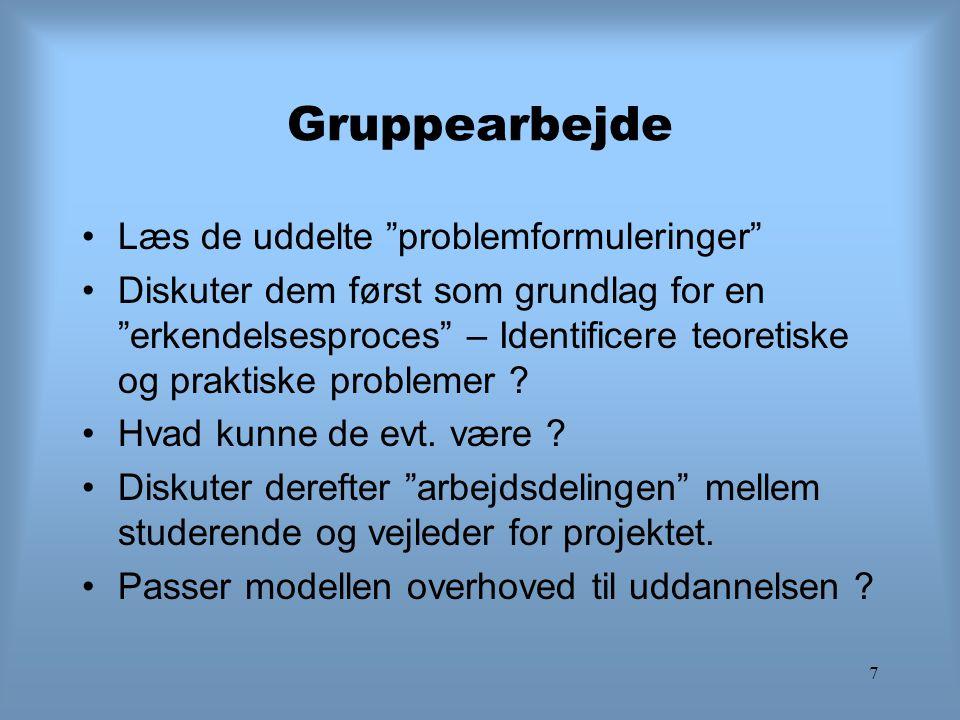 """7 Gruppearbejde Læs de uddelte """"problemformuleringer"""" Diskuter dem først som grundlag for en """"erkendelsesproces"""" – Identificere teoretiske og praktisk"""