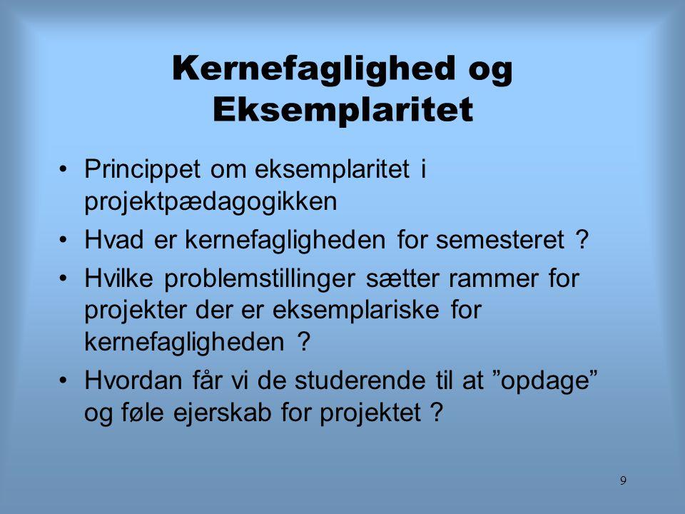 9 Kernefaglighed og Eksemplaritet Princippet om eksemplaritet i projektpædagogikken Hvad er kernefagligheden for semesteret ? Hvilke problemstillinger