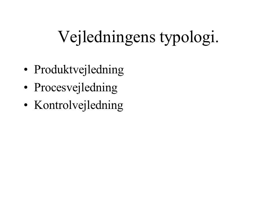 Vejledningens typologi. Produktvejledning Procesvejledning Kontrolvejledning