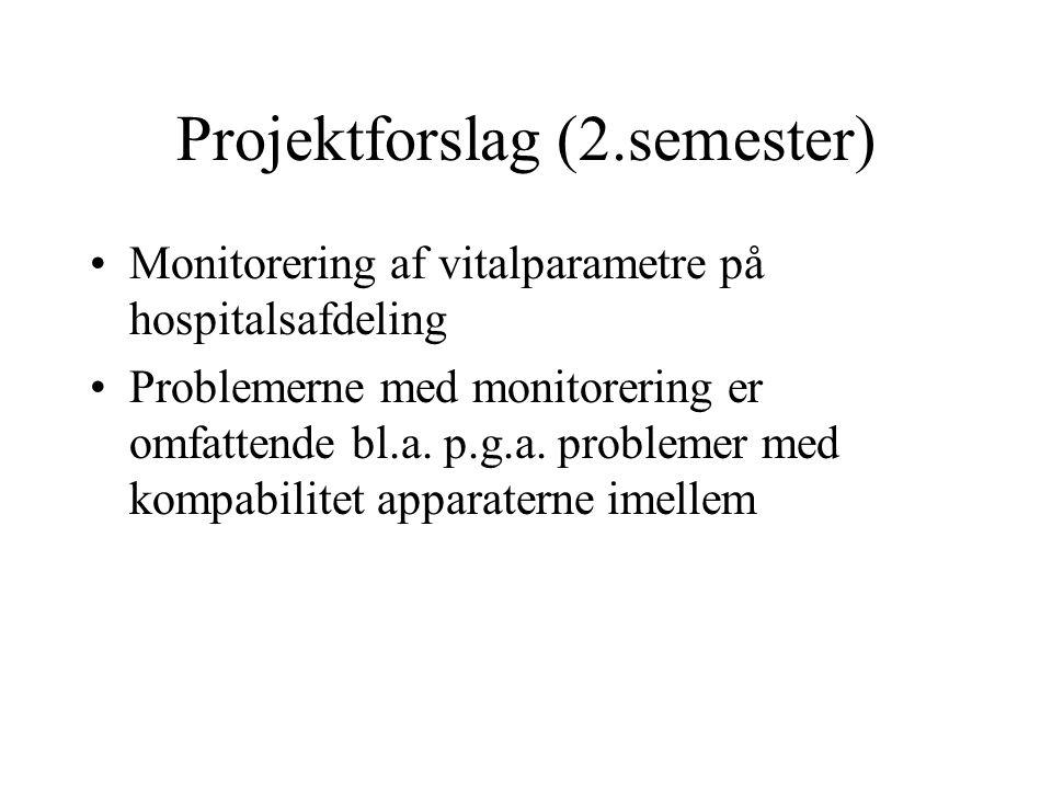 Projektforslag (2.semester) Monitorering af vitalparametre på hospitalsafdeling Problemerne med monitorering er omfattende bl.a.