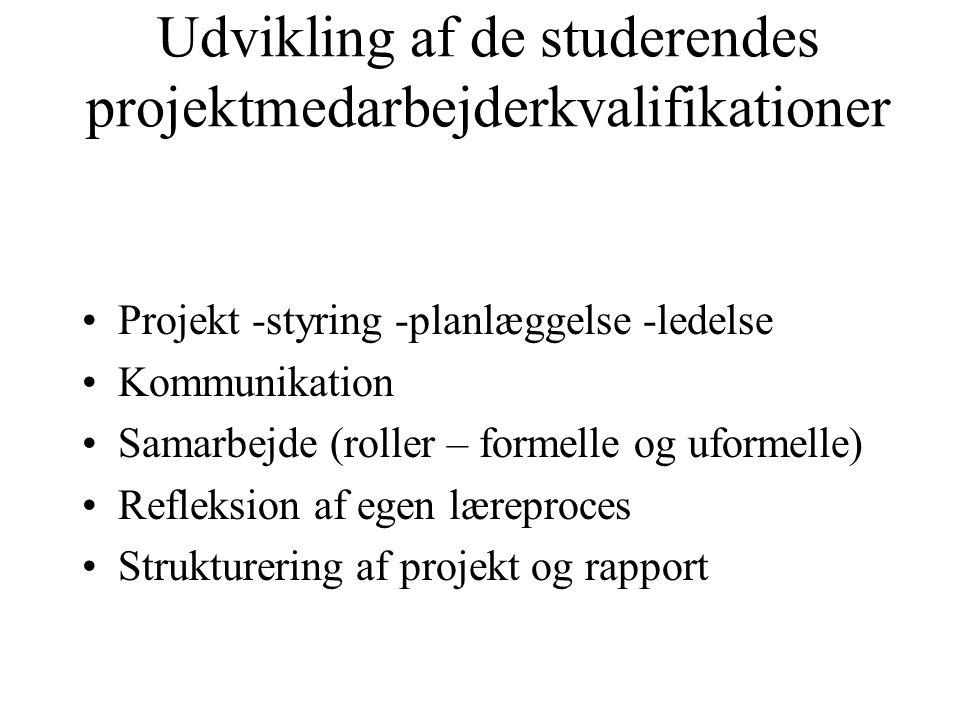 Udvikling af de studerendes projektmedarbejderkvalifikationer Projekt -styring -planlæggelse -ledelse Kommunikation Samarbejde (roller – formelle og uformelle) Refleksion af egen læreproces Strukturering af projekt og rapport