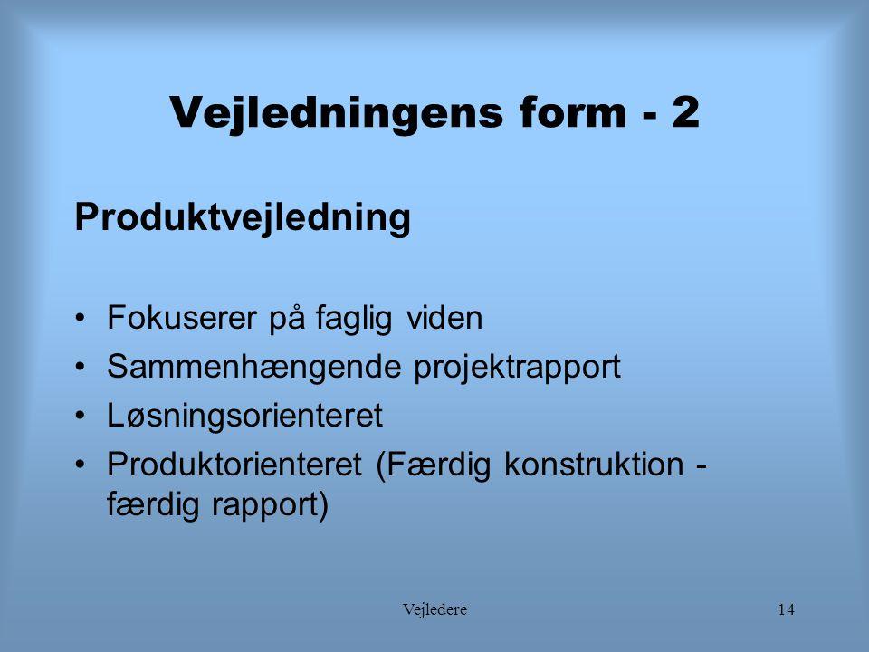 Vejledere14 Vejledningens form - 2 Produktvejledning Fokuserer på faglig viden Sammenhængende projektrapport Løsningsorienteret Produktorienteret (Færdig konstruktion - færdig rapport)