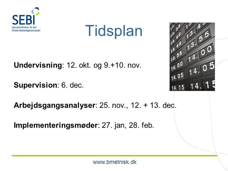 www.bmetnisk.dk Tidsplan Undervisning: 12. okt. og 9.+10.