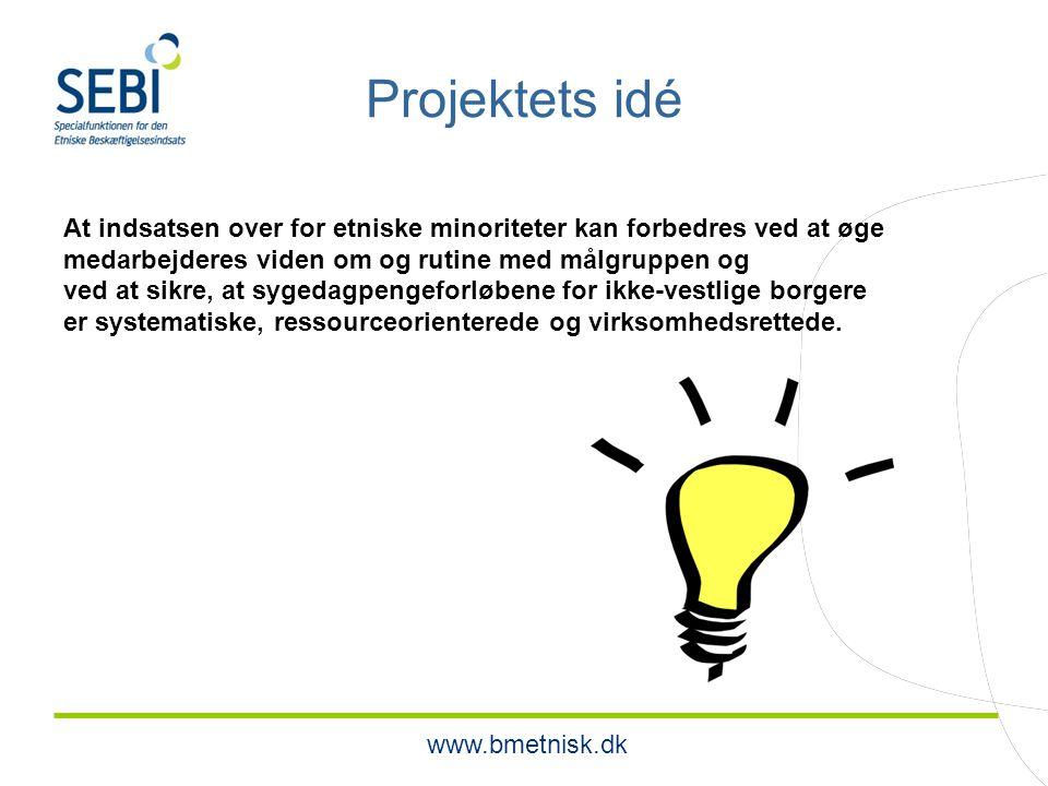 www.bmetnisk.dk Projektets idé At indsatsen over for etniske minoriteter kan forbedres ved at øge medarbejderes viden om og rutine med målgruppen og ved at sikre, at sygedagpengeforløbene for ikke-vestlige borgere er systematiske, ressourceorienterede og virksomhedsrettede.