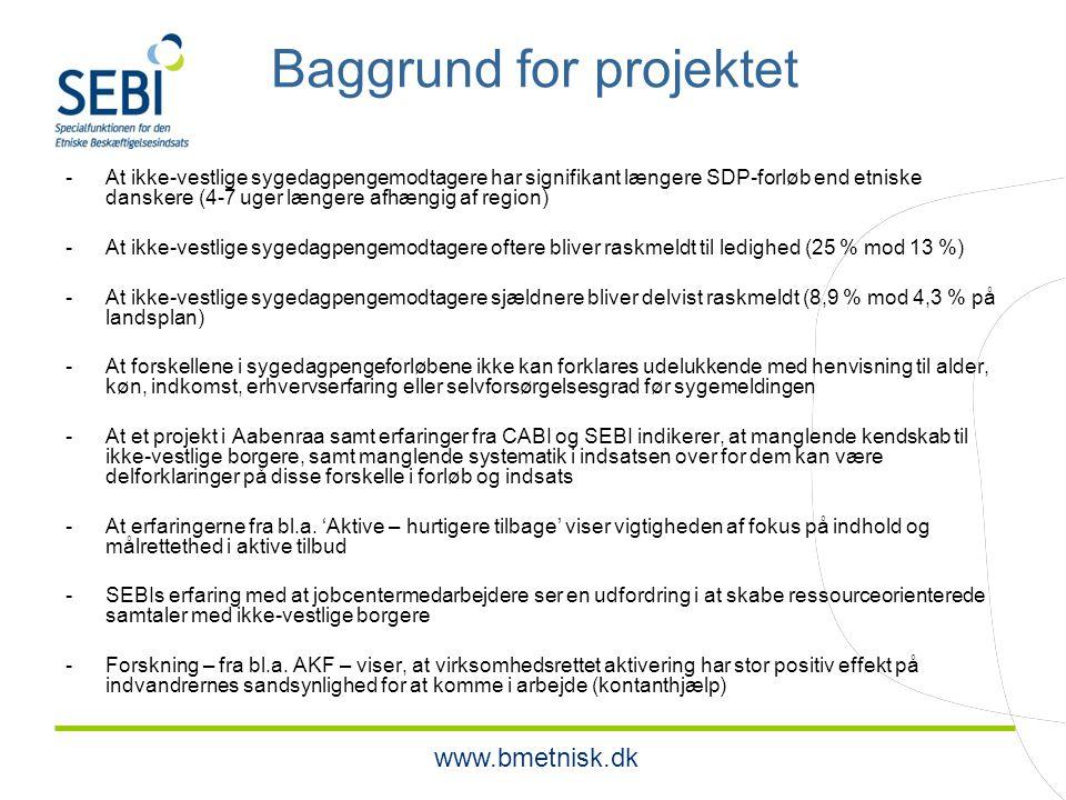 www.bmetnisk.dk Baggrund for projektet -At ikke-vestlige sygedagpengemodtagere har signifikant længere SDP-forløb end etniske danskere (4-7 uger længere afhængig af region) -At ikke-vestlige sygedagpengemodtagere oftere bliver raskmeldt til ledighed (25 % mod 13 %) -At ikke-vestlige sygedagpengemodtagere sjældnere bliver delvist raskmeldt (8,9 % mod 4,3 % på landsplan) -At forskellene i sygedagpengeforløbene ikke kan forklares udelukkende med henvisning til alder, køn, indkomst, erhvervserfaring eller selvforsørgelsesgrad før sygemeldingen -At et projekt i Aabenraa samt erfaringer fra CABI og SEBI indikerer, at manglende kendskab til ikke-vestlige borgere, samt manglende systematik i indsatsen over for dem kan være delforklaringer på disse forskelle i forløb og indsats -At erfaringerne fra bl.a.