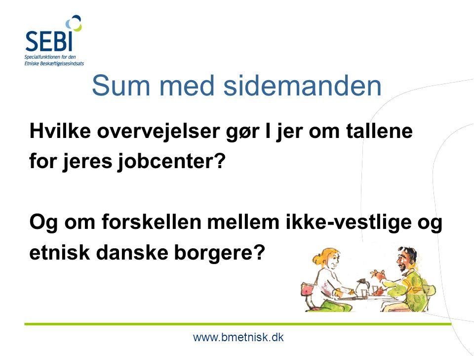 www.bmetnisk.dk Sum med sidemanden Hvilke overvejelser gør I jer om tallene for jeres jobcenter.