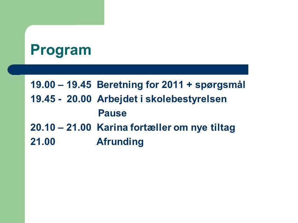 Program 19.00 – 19.45 Beretning for 2011 + spørgsmål 19.45 - 20.00 Arbejdet i skolebestyrelsen Pause 20.10 – 21.00 Karina fortæller om nye tiltag 21.00 Afrunding