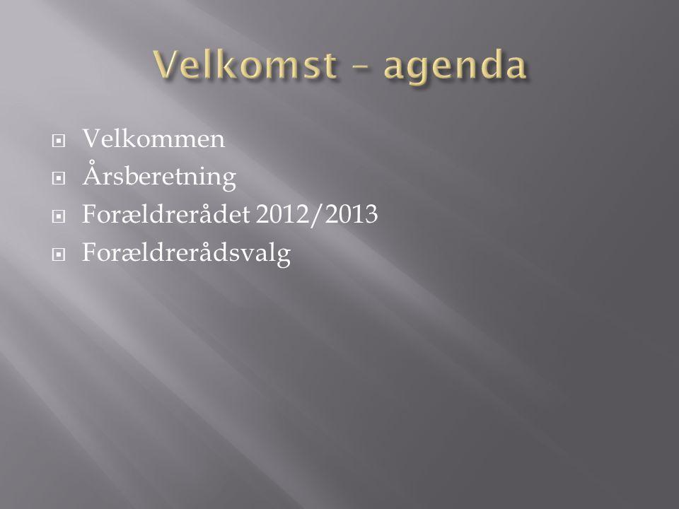  Velkommen  Årsberetning  Forældrerådet 2012/2013  Forældrerådsvalg