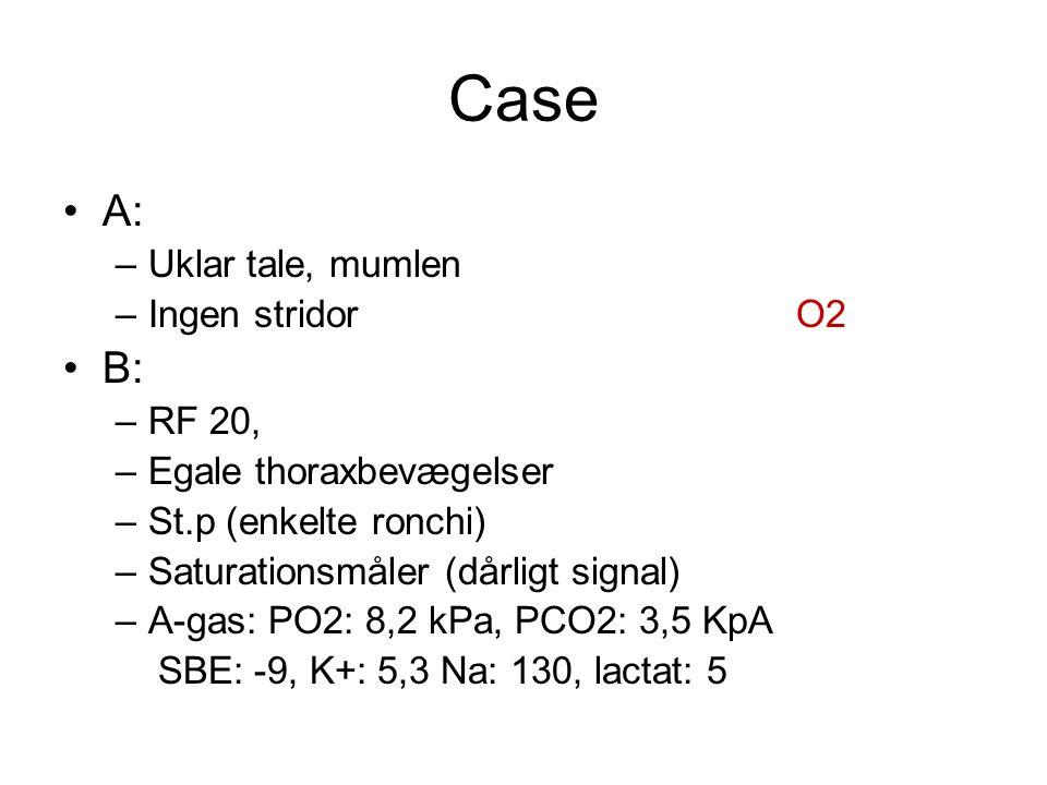 Case A: –Uklar tale, mumlen –Ingen stridorO2 B: –RF 20, –Egale thoraxbevægelser –St.p (enkelte ronchi) –Saturationsmåler (dårligt signal) –A-gas: PO2: