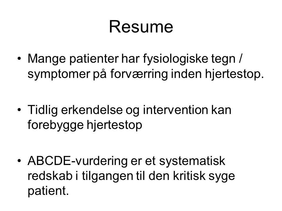 Resume Mange patienter har fysiologiske tegn / symptomer på forværring inden hjertestop. Tidlig erkendelse og intervention kan forebygge hjertestop AB