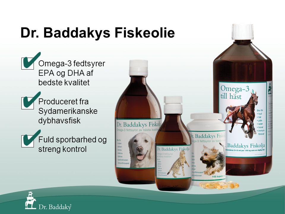 Omega-3 fedtsyrer EPA og DHA af bedste kvalitet Produceret fra Sydamerikanske dybhavsfisk Fuld sporbarhed og streng kontrol Dr.