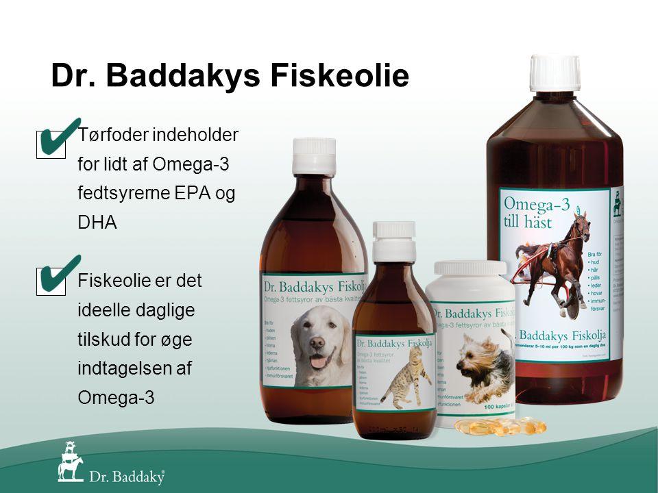 Tørfoder indeholder for lidt af Omega-3 fedtsyrerne EPA og DHA Fiskeolie er det ideelle daglige tilskud for øge indtagelsen af Omega-3
