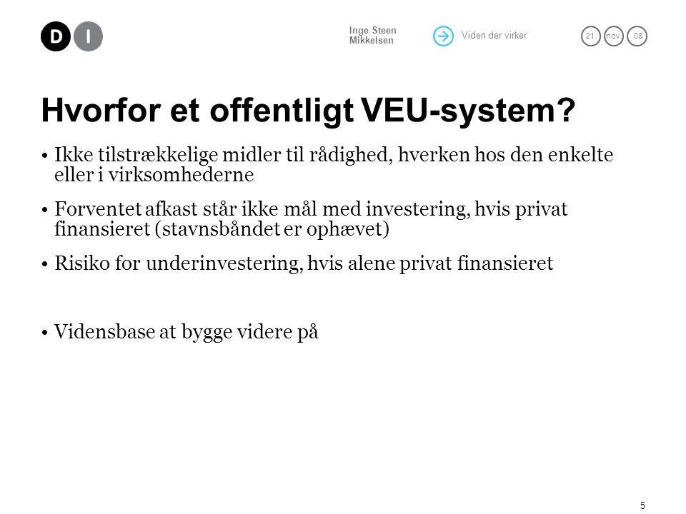 Viden der virker 21.nov. 08 Inge Steen Mikkelsen 5 Hvorfor et offentligt VEU-system.
