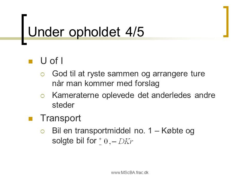 www.MScBA.frac.dk Under opholdet 4/5 U of I  God til at ryste sammen og arrangere ture når man kommer med forslag  Kameraterne oplevede det anderledes andre steder Transport  Bil en transportmiddel no.