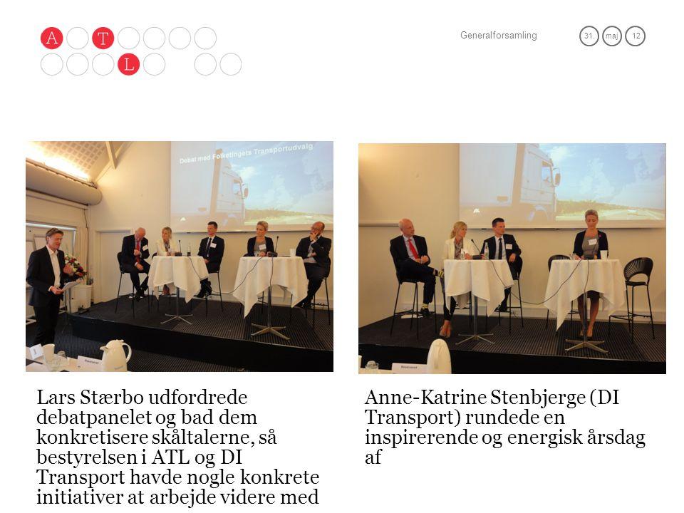 Generalforsamling 31.maj 12 Lars Stærbo udfordrede debatpanelet og bad dem konkretisere skåltalerne, så bestyrelsen i ATL og DI Transport havde nogle konkrete initiativer at arbejde videre med Anne-Katrine Stenbjerge (DI Transport) rundede en inspirerende og energisk årsdag af