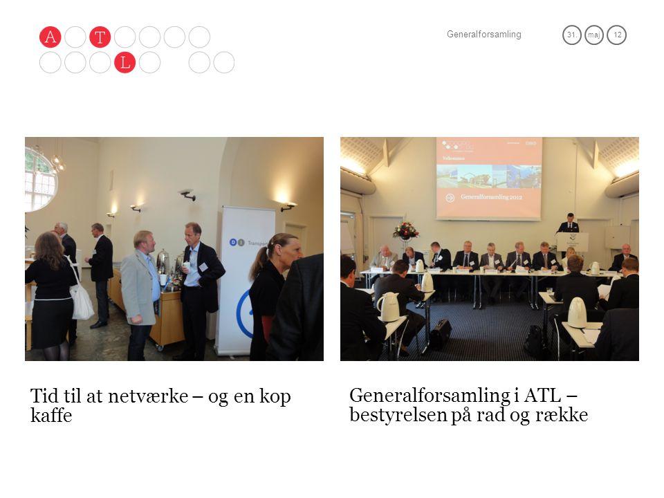 Generalforsamling 31.maj 12 Tid til at netværke – og en kop kaffe Generalforsamling i ATL – bestyrelsen på rad og række