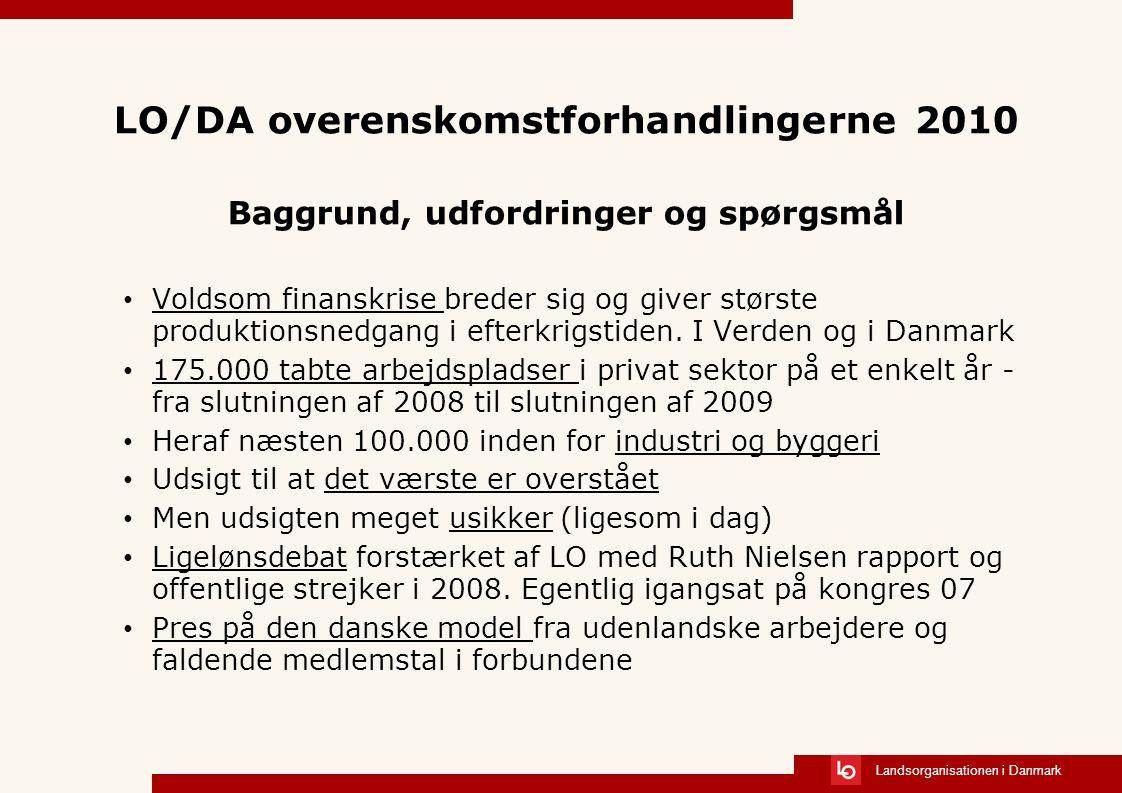 Landsorganisationen i Danmark LO/DA overenskomstforhandlingerne 2010 Baggrund, udfordringer og spørgsmål Voldsom finanskrise breder sig og giver største produktionsnedgang i efterkrigstiden.