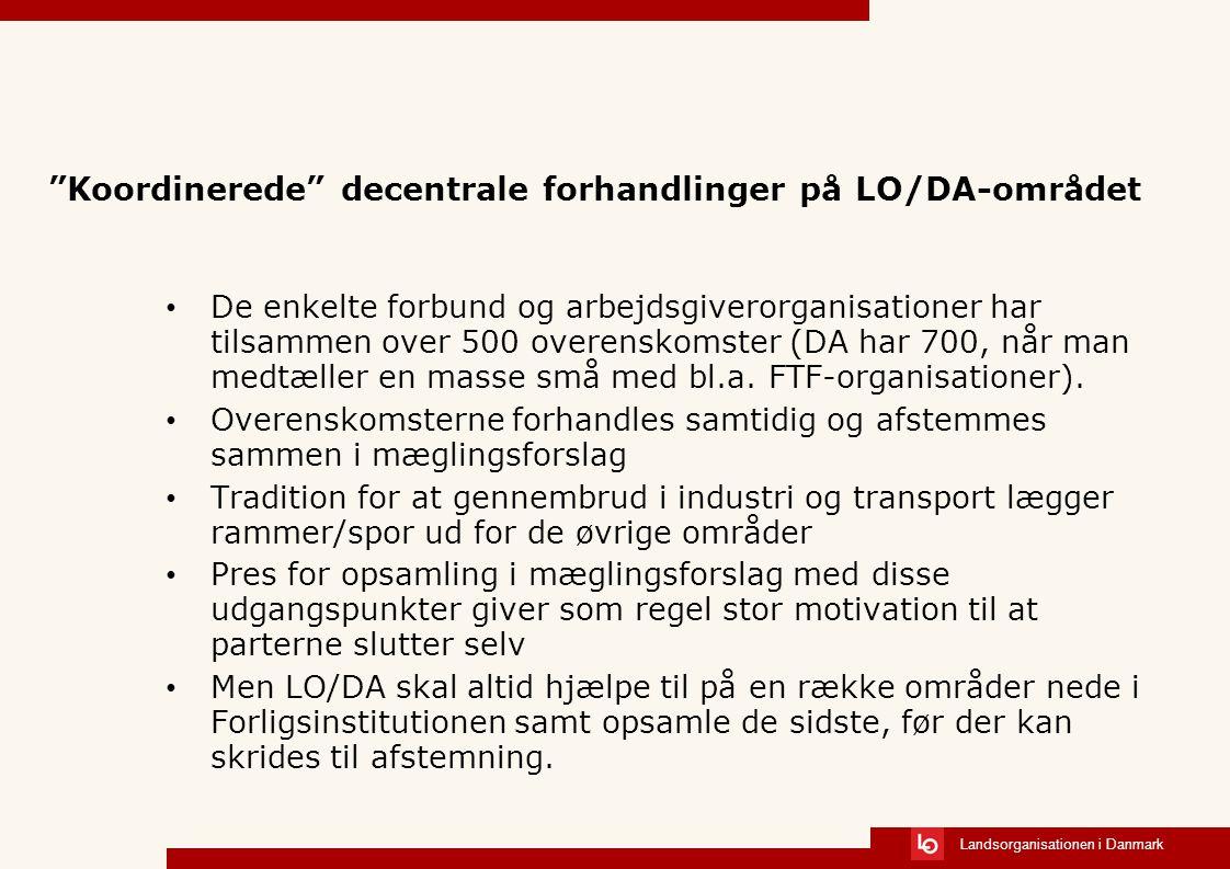 Landsorganisationen i Danmark Koordinerede decentrale forhandlinger på LO/DA-området De enkelte forbund og arbejdsgiverorganisationer har tilsammen over 500 overenskomster (DA har 700, når man medtæller en masse små med bl.a.
