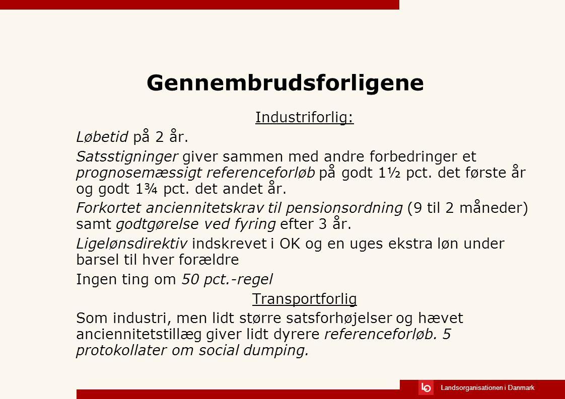 Landsorganisationen i Danmark Gennembrudsforligene Industriforlig: Løbetid på 2 år.