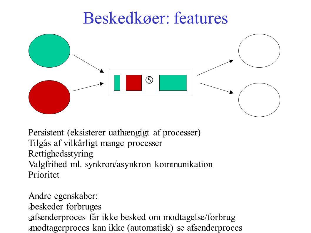 Beskedkøer: features … Persistent (eksisterer uafhængigt af processer) Tilgås af vilkårligt mange processer Rettighedsstyring Valgfrihed ml.