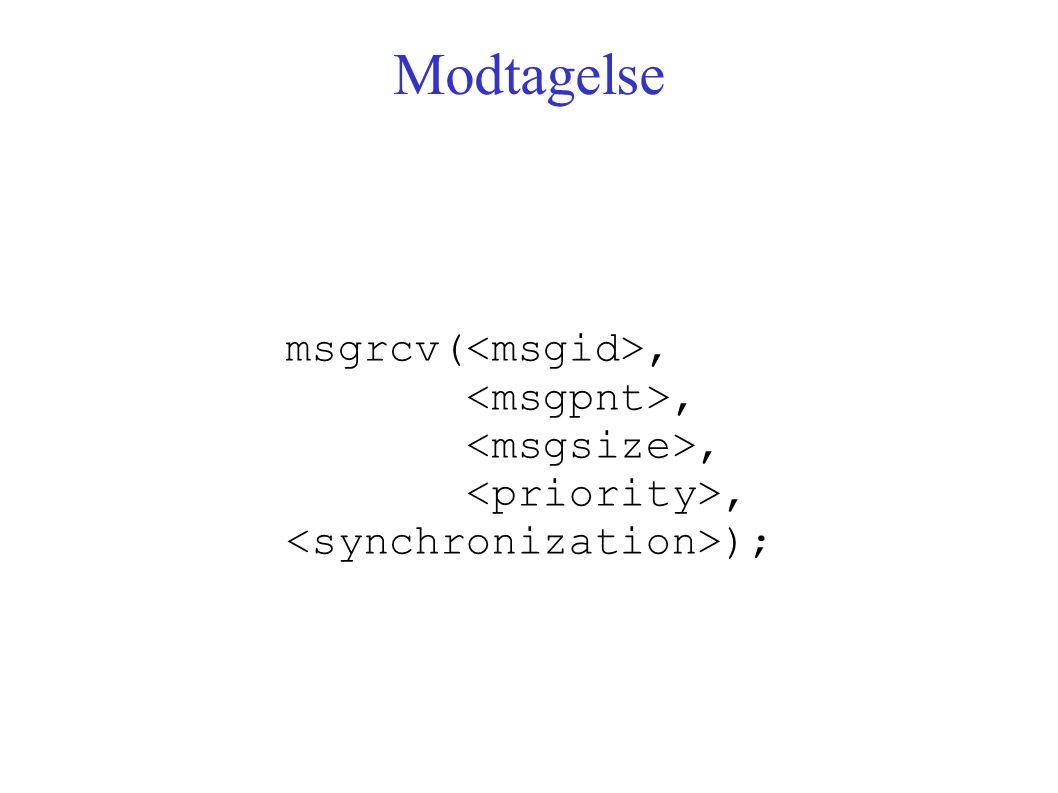 Modtagelse msgrcv(,, );