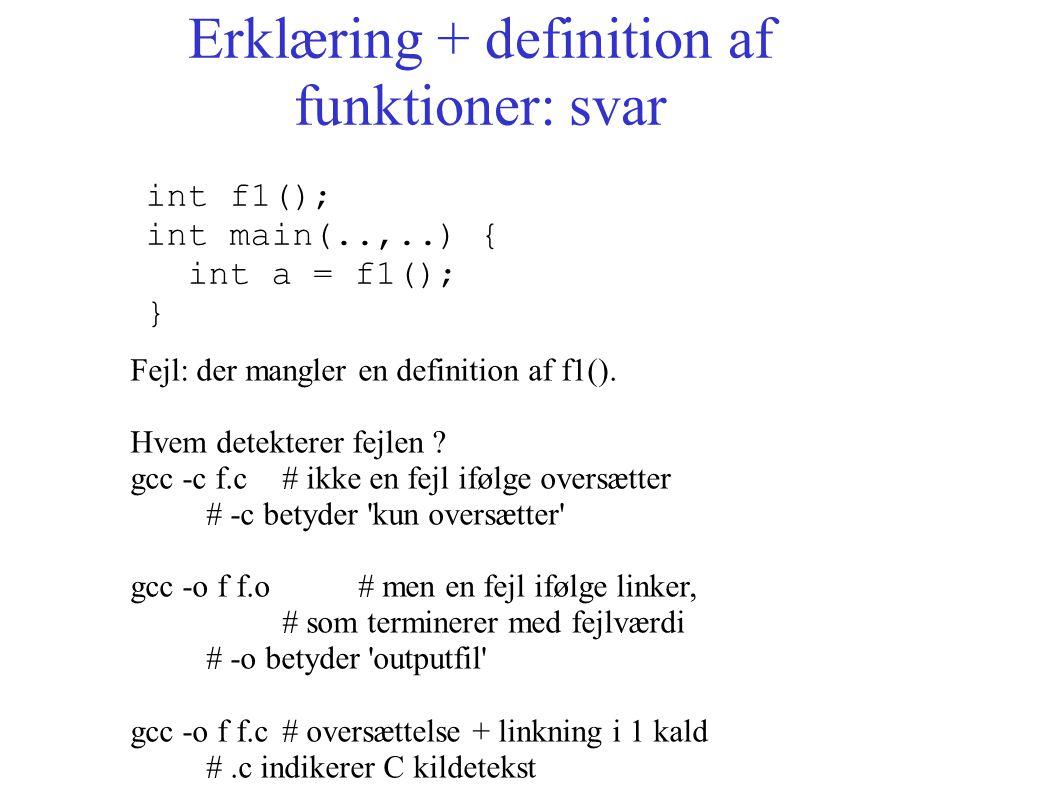Erklæring + definition af funktioner: svar int f1(); int main(..,..) { int a = f1(); } Fejl: der mangler en definition af f1().