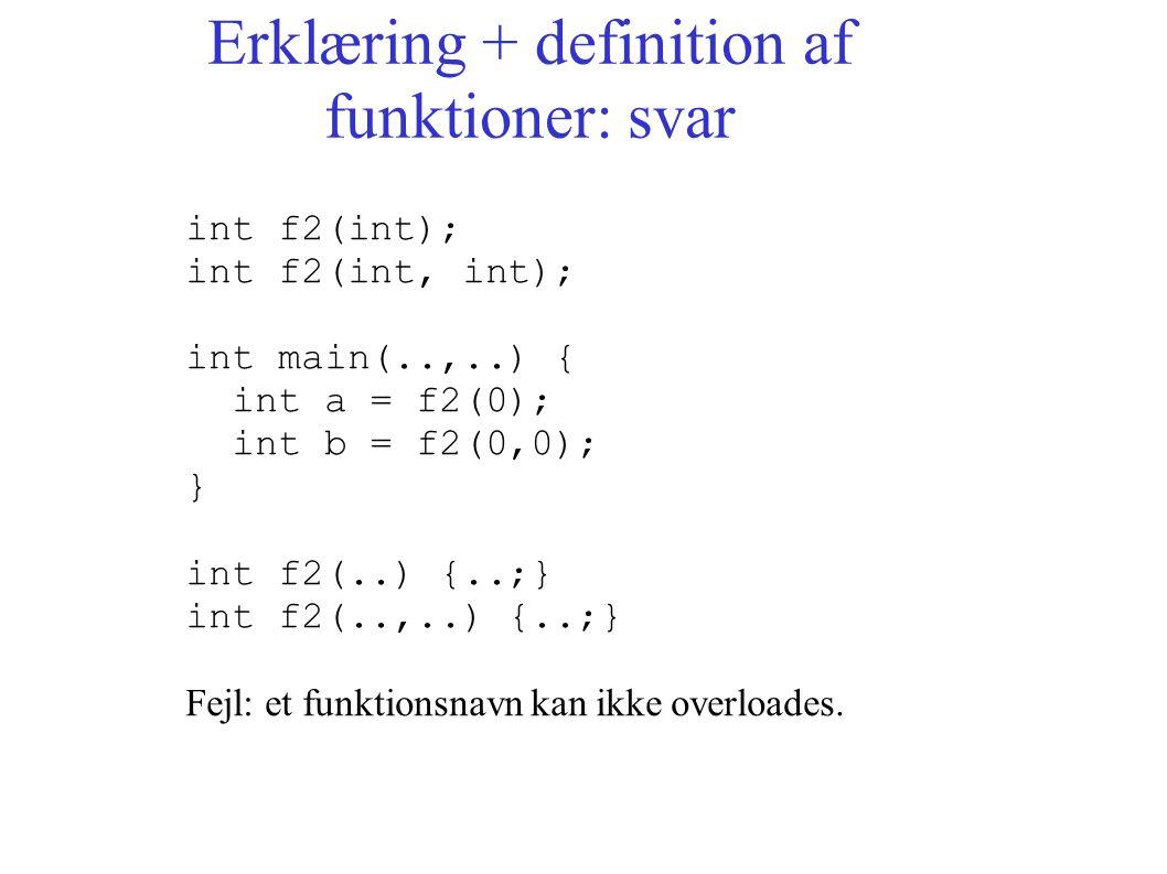 Erklæring + definition af funktioner: svar int f2(int); int f2(int, int); int main(..,..) { int a = f2(0); int b = f2(0,0); } int f2(..) {..;} int f2(..,..) {..;} Fejl: et funktionsnavn kan ikke overloades.