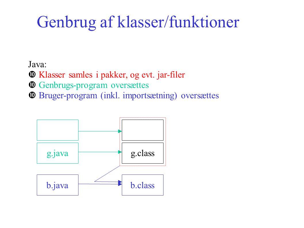 Genbrug af klasser/funktioner Java: Klasser samles i pakker, og evt.