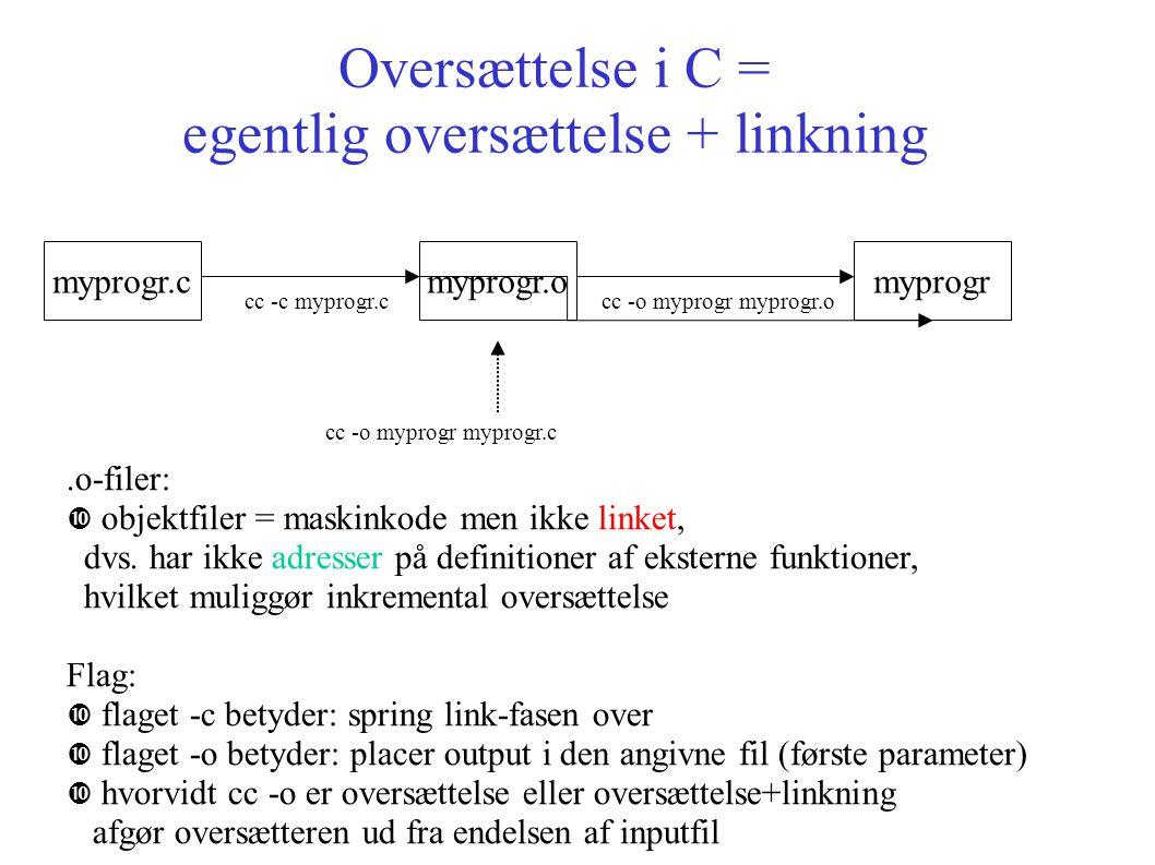 Oversættelse i C = egentlig oversættelse + linkning myprogr.cmyprogr.omyprogr cc -c myprogr.ccc -o myprogr myprogr.o.o-filer: objektfiler = maskinkode men ikke linket, dvs.