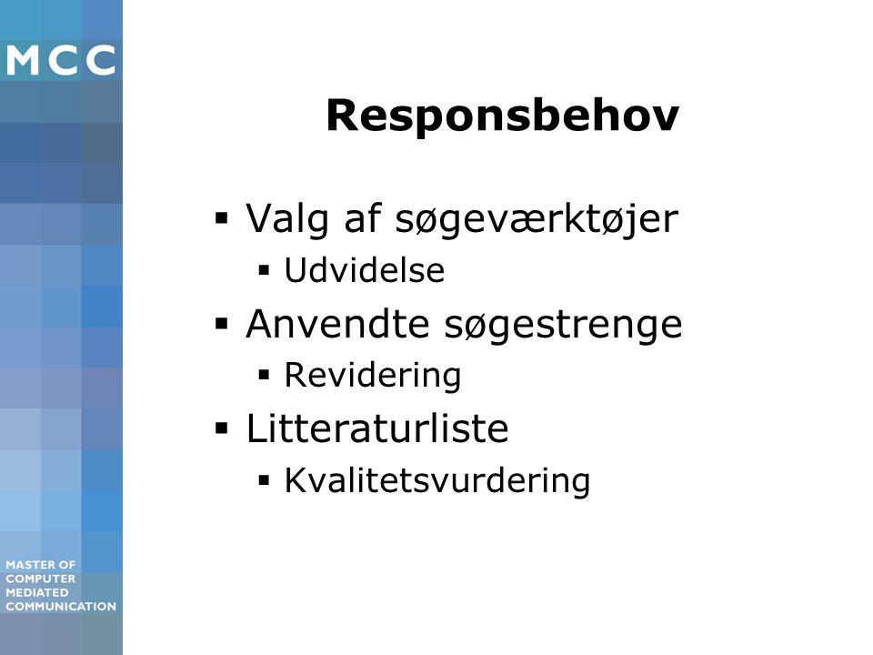 Responsbehov  Valg af søgeværktøjer  Udvidelse  Anvendte søgestrenge  Revidering  Litteraturliste  Kvalitetsvurdering