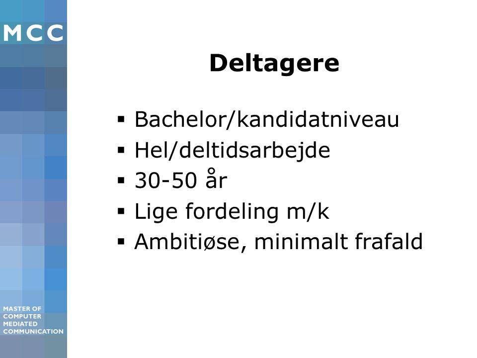 Deltagere  Bachelor/kandidatniveau  Hel/deltidsarbejde  30-50 år  Lige fordeling m/k  Ambitiøse, minimalt frafald