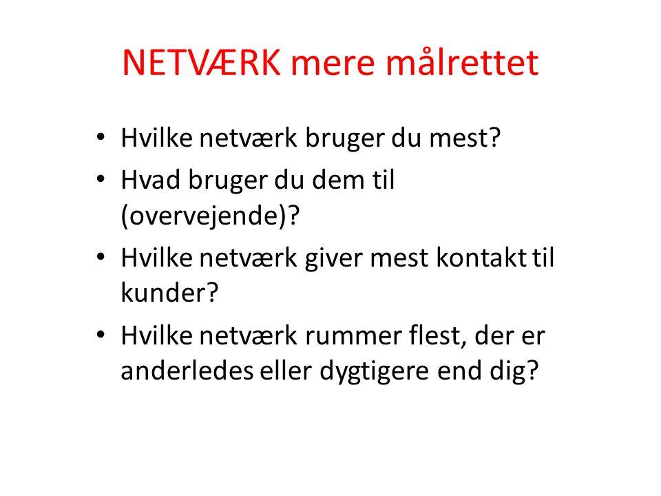 NETVÆRK mere målrettet Hvilke netværk bruger du mest.