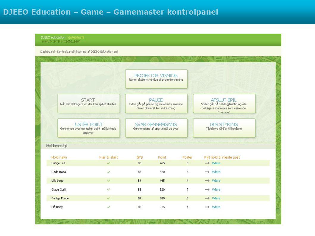 DJEEO Education – Game – Gamemaster kontrolpanel