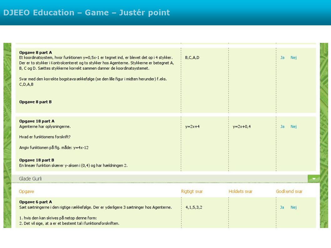 DJEEO Education – Game – Justér point