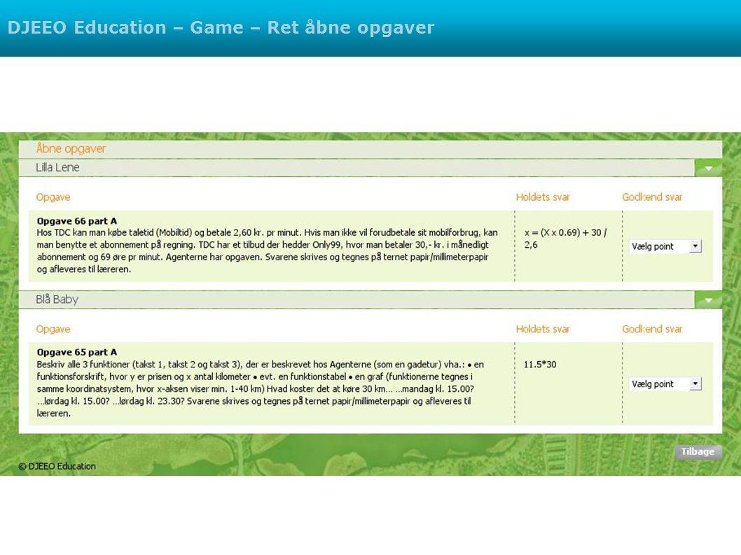 DJEEO Education – Game – Ret åbne opgaver