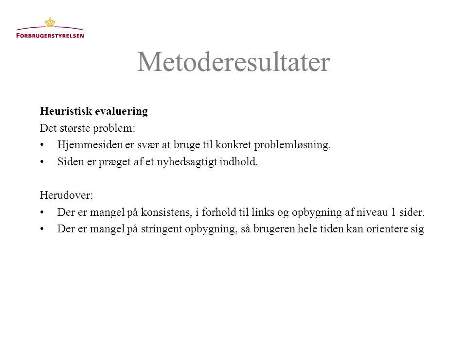 Metoderesultater Heuristisk evaluering Det største problem: Hjemmesiden er svær at bruge til konkret problemløsning.