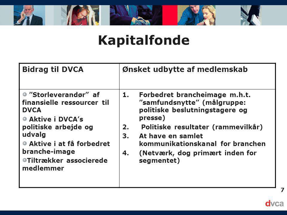 7 Kapitalfonde Bidrag til DVCAØnsket udbytte af medlemskab Storleverandør af finansielle ressourcer til DVCA Aktive i DVCA's politiske arbejde og udvalg Aktive i at få forbedret branche-image Tiltrækker associerede medlemmer 1.Forbedret brancheimage m.h.t.