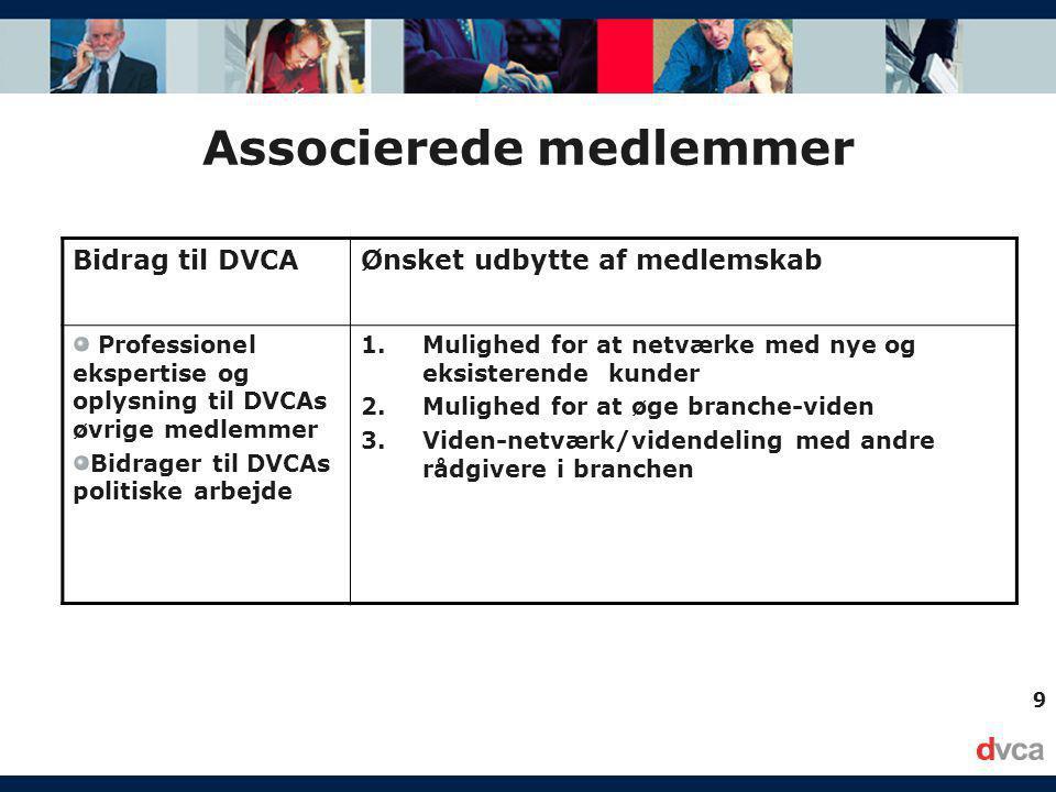 9 Associerede medlemmer Bidrag til DVCAØnsket udbytte af medlemskab Professionel ekspertise og oplysning til DVCAs øvrige medlemmer Bidrager til DVCAs politiske arbejde 1.Mulighed for at netværke med nye og eksisterende kunder 2.Mulighed for at øge branche-viden 3.Viden-netværk/videndeling med andre rådgivere i branchen