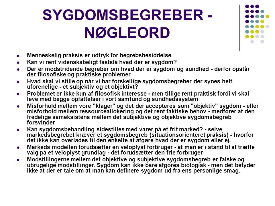 SYGDOMSBEGREBER - NØGLEORD Menneskelig praksis er udtryk for begrebsbesiddelse Kan vi rent videnskabeligt fastslå hvad der er sygdom.