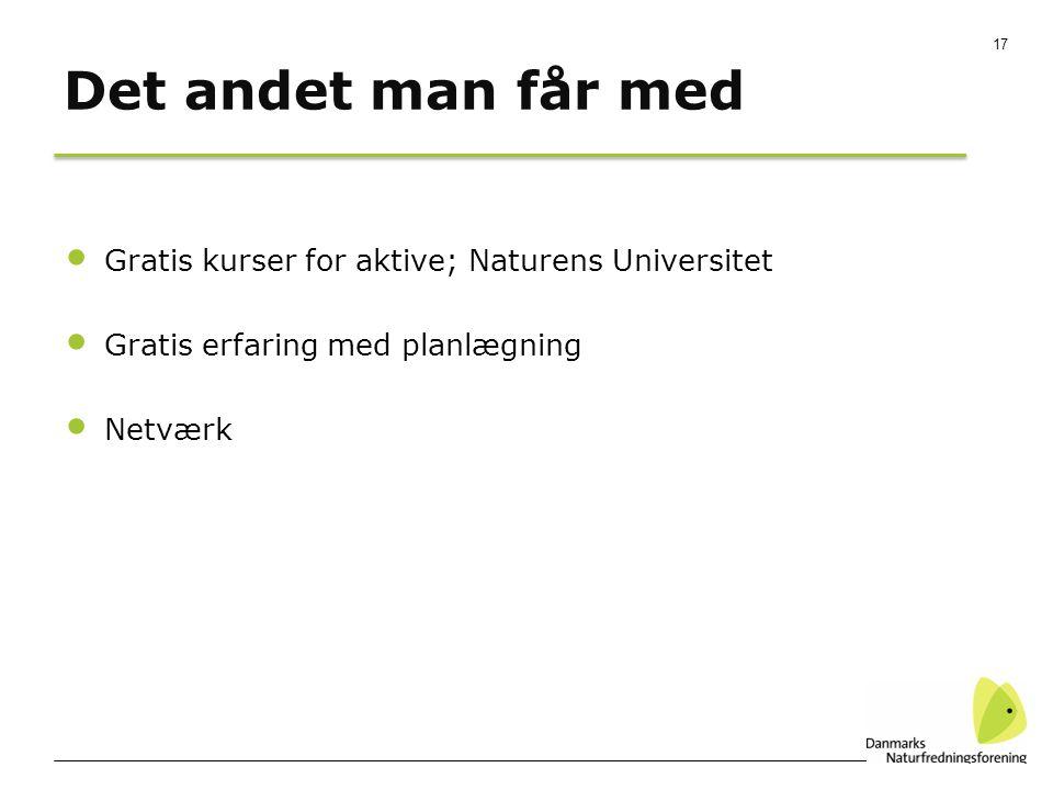 17 Det andet man får med Gratis kurser for aktive; Naturens Universitet Gratis erfaring med planlægning Netværk
