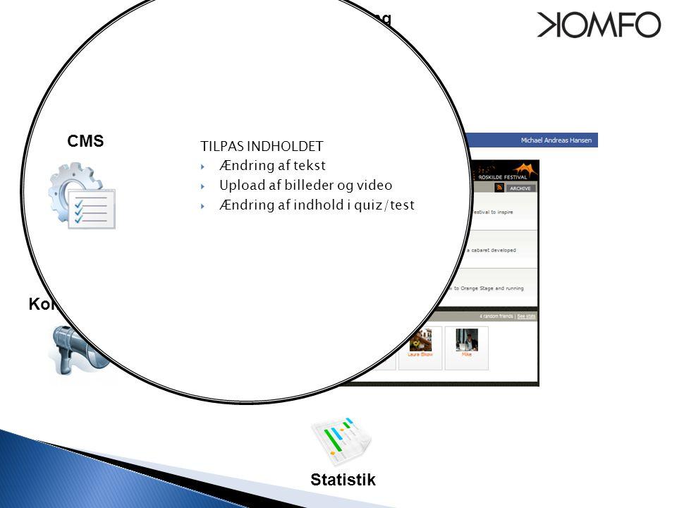Seedning Kommunikation CMS TILPAS INDHOLDET  Ændring af tekst  Upload af billeder og video  Ændring af indhold i quiz/test Statistik CMS